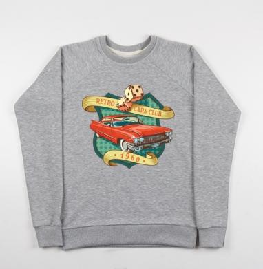 Retro cars club, Cвитшот женский серый-меланж 340гр, теплый