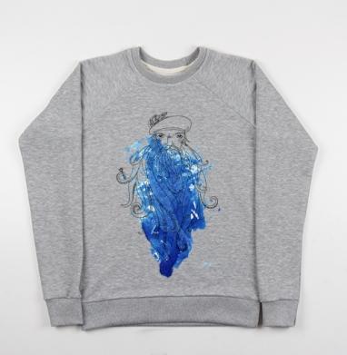 Синяя Борода - Cвитшот женский серый-меланж 340гр, теплый, мужские, Популярные