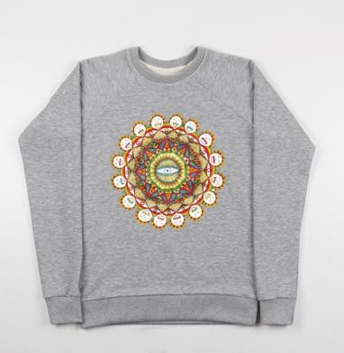 Sunflower mandala - Cвитшот женский серый-меланж 340гр, теплый, психоделика, Популярные
