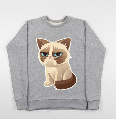 Сурове, грустне, котячне - Купить детские свитшоты с кошками в Москве, цена детских свитшотов с кошками  с прикольными принтами - магазин дизайнерской одежды MaryJane