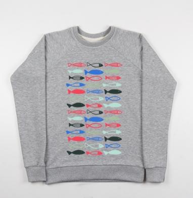 Веселые рыбехи, Cвитшот женский серый-меланж 340гр, теплый
