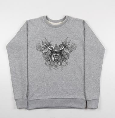Викинг - Cвитшот женский серый-меланж 340гр, теплый, мужские, Популярные