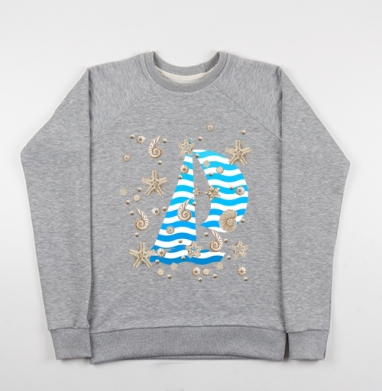 Волны и ракушки - Купить детские свитшоты морские  в Москве, цена детских свитшотов морских   с прикольными принтами - магазин дизайнерской одежды MaryJane