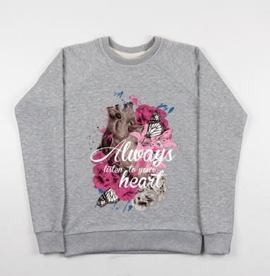 Всегда слушай свое сердце - Купить детские свитшоты красивые в Москве, цена детских свитшотов красивых  с прикольными принтами - магазин дизайнерской одежды MaryJane