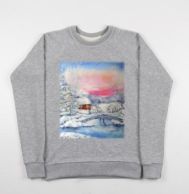 Зимний пейзаж - Купить детские свитшоты Пейзаж в Москве, цена детских свитшотов с пейзажем с прикольными принтами - магазин дизайнерской одежды MaryJane