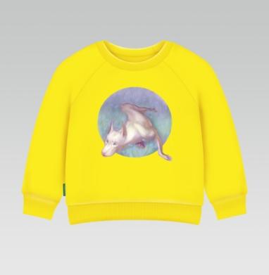 Белый доберман, Cвитшот Детский желтый 240гр, тонкая