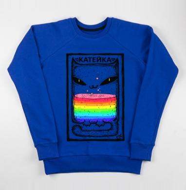 Катейка с радугой - Cвитшот женский, синий 320гр, стандарт, Популярные