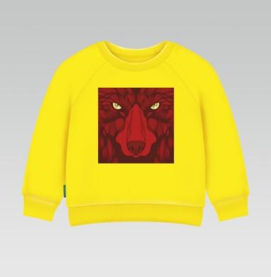 Квадратный волк, Cвитшот Детский желтый 240гр, тонкая