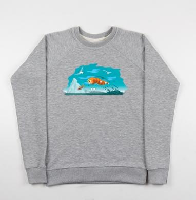 Cвитшот женский серый-меланж 340гр, теплый - Морской котик