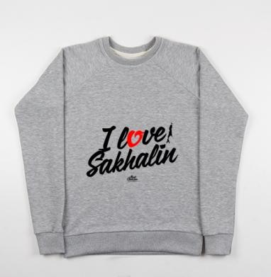 Cвитшот женский серый-меланж 340гр, теплый - Я люблю Сахалин.