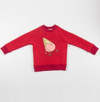 Любимая шапка - Cвитшот Детский красный 340гр, теплый, Популярные