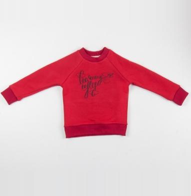 Учиться летать - Cвитшот Детский красный 340гр, теплый, Популярные
