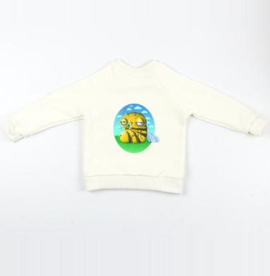 Пчела с ромашкой - Cвитшот Детский Экрю 320гр, стандарт, Популярные