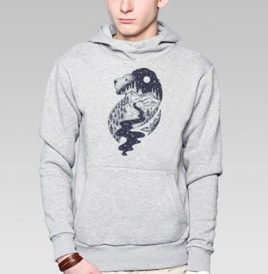 Таинственный лев - Толстовка мужская, накладной карман серый меланж
