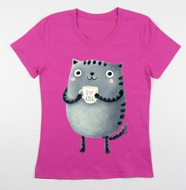Футболка женская фуксия, розовый - Интернет-магазин женских футболок. Купите женские футболки сегодня.