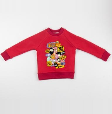 Cвитшот Детский красный 340гр, теплый - BINGO!