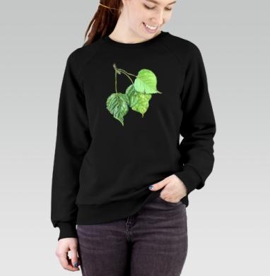 Листья тополя, Cвитшот женский черный 340гр, теплый