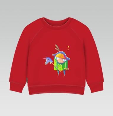 Cвитшот Детский ярко-красный 240гр, тонкий - Ночная прогулка с единорогом