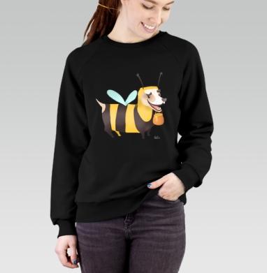 Пчелопёс, Cвитшот женский черный 340гр, теплый