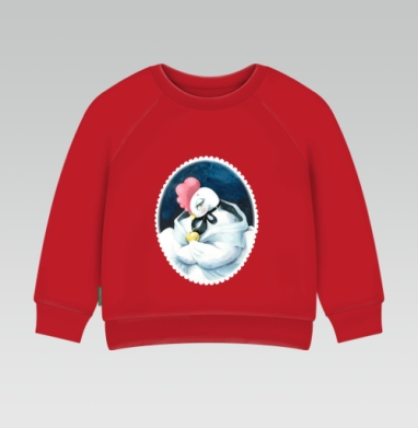 Cвитшот Детский ярко-красный 240гр, тонкий - Курица-красавица