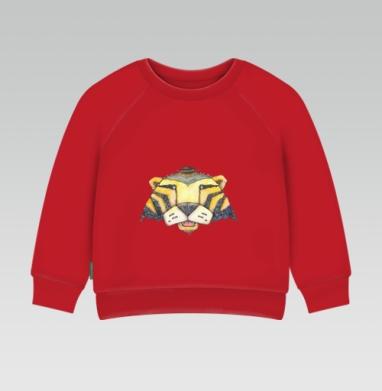 Cвитшот Детский ярко-красный 240гр, тонкий - Тигр
