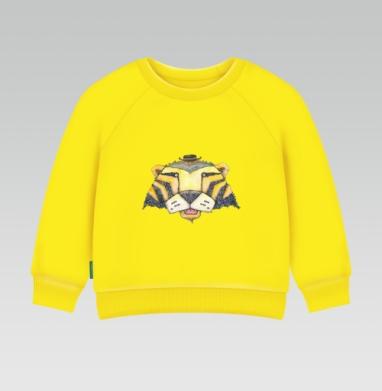 Тигр, Cвитшот Детский желтый 240гр, тонкая