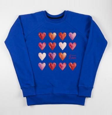 Всё что нам нужно - это только любовь - Cвитшот женский, синий 320гр, стандарт, Популярные