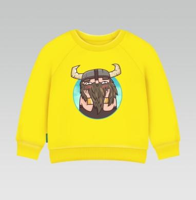 Застенчивый бородач, Cвитшот Детский желтый 240гр, тонкая