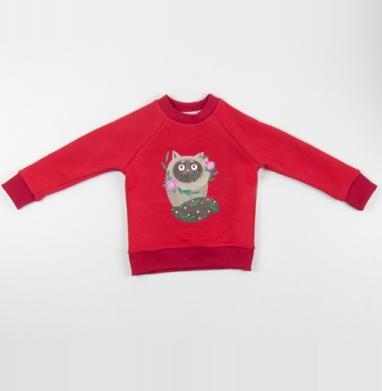 Кот Элвис - Cвитшот Детский красный 340гр, теплый, Популярные