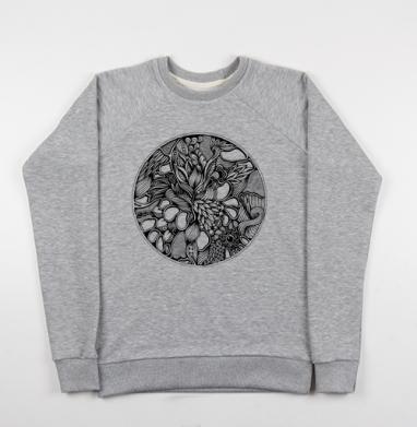 Абстракция в круге, Свитшот мужской серый-меланж 240гр, тонкий