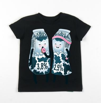 Детская футболка черная хлопок с лайкрой 140гр, чёрный - Детские футболки