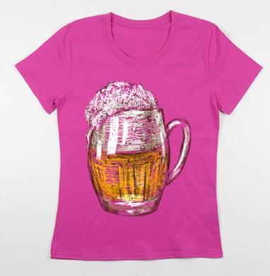 Футболка женская фуксия - Кружка пива