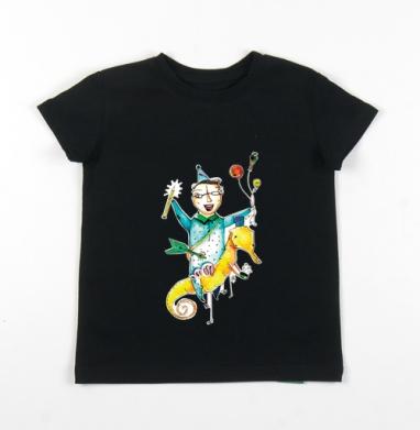 Детская футболка черная хлопок с лайкрой 140гр - Беспредельные фантазии
