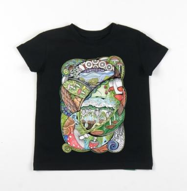 Детская футболка черная хлопок с лайкрой 140гр - Царство грибов