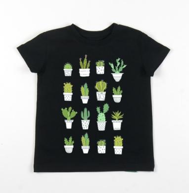 Детская футболка черная хлопок с лайкрой 140гр - Кактусики