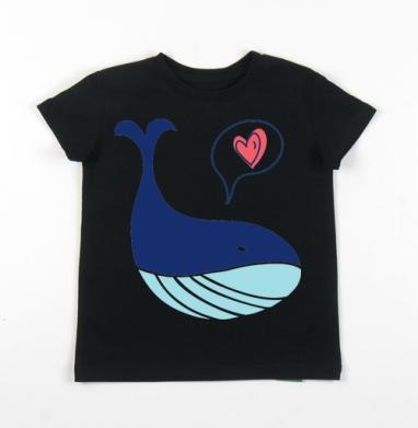 Детская футболка черная хлопок с лайкрой 140гр - Кит любит тебя