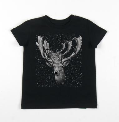 Детская футболка черная хлопок с лайкрой 140гр - Оленины