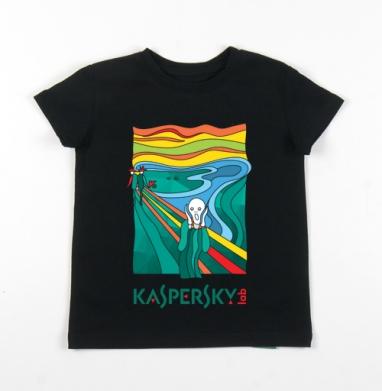 Детская футболка черная хлопок с лайкрой 140гр - Последний крик