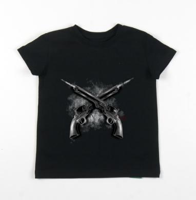 Детская футболка черная хлопок с лайкрой 140гр - Револьверы