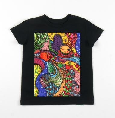 Детская футболка черная хлопок с лайкрой 140гр - Волны зимы