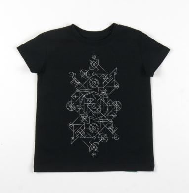 Детская футболка черная хлопок с лайкрой 140гр - Знаки