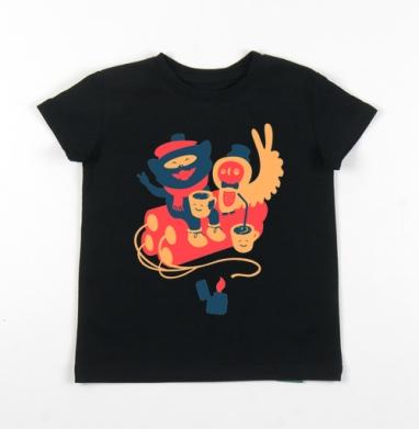 Детская футболка черная хлопок с лайкрой 140гр - АНТИ МИ-МИ