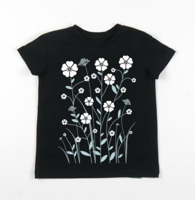 Детская футболка черная хлопок с лайкрой 140гр - Лен