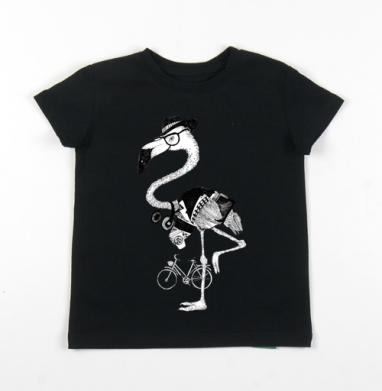 Детская футболка черная хлопок с лайкрой 140гр - Мой милый хипстер