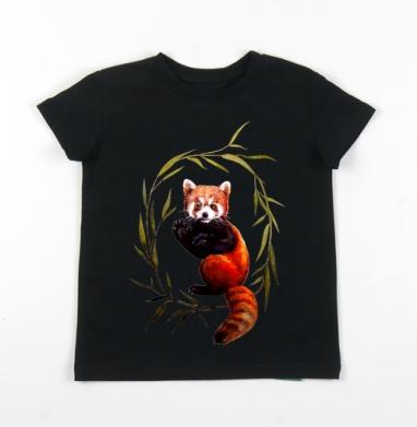 Детская футболка черная хлопок с лайкрой 140гр - Панда говорит привет