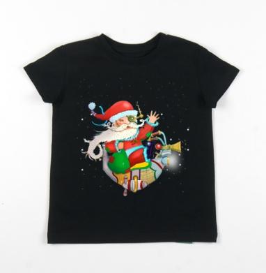 Детская футболка черная хлопок с лайкрой 140гр - стимпанк дед мороз