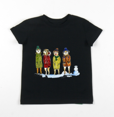 Детская футболка черная хлопок с лайкрой 140гр - Сурикаты с помпонами