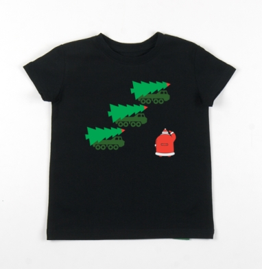 Детская футболка черная хлопок с лайкрой 140гр - УРА
