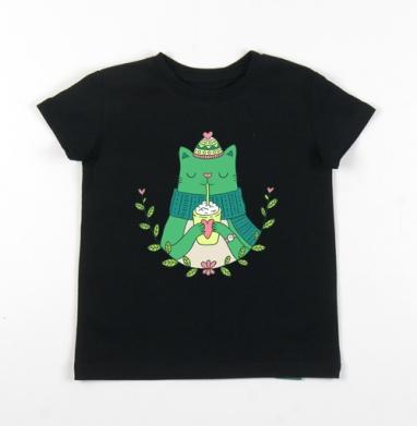 Детская футболка черная хлопок с лайкрой 140гр - Винтэркэт