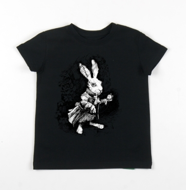 Детская футболка черная хлопок с лайкрой 140гр - Заяц из алисы в стране чудес